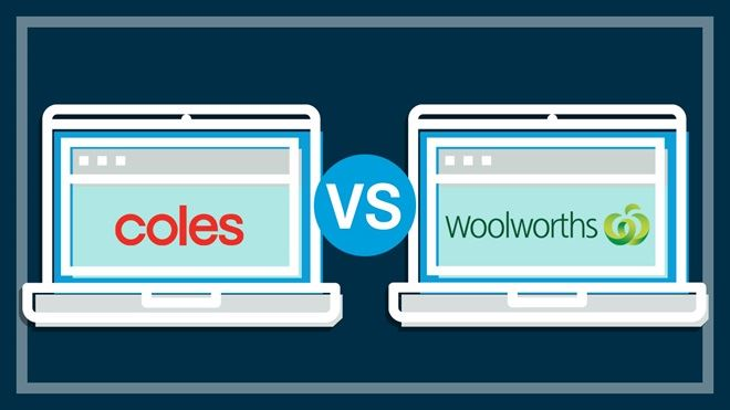 two_laptops_with_coles_and_woolworths_logos_on_screen